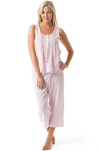 Casual Nights Women's Sleeveless Tank Top Capri Pajama Set - Pink - XX-Large (Sleeveless Capri Pajamas)