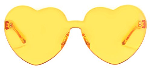 One Piece Heart Shaped Rimless Sunglasses Transparent Candy Color Eyewear(Yellow)