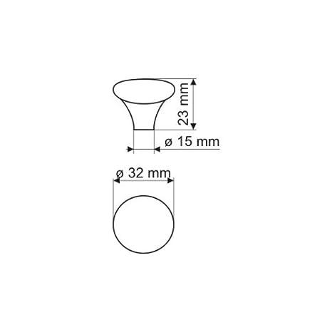 Möbelknopf Schrankgriff Schubladengriff Porzellan Creme mit Muster ø 32mm
