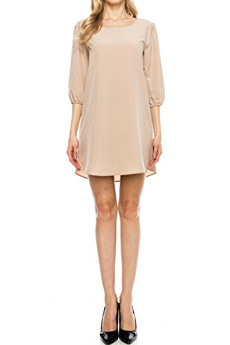 (Armycrew Women's Solid Round Neck 3/4 Sleeve Chiffon Shift Dress, Made in USA - Taupe - L)
