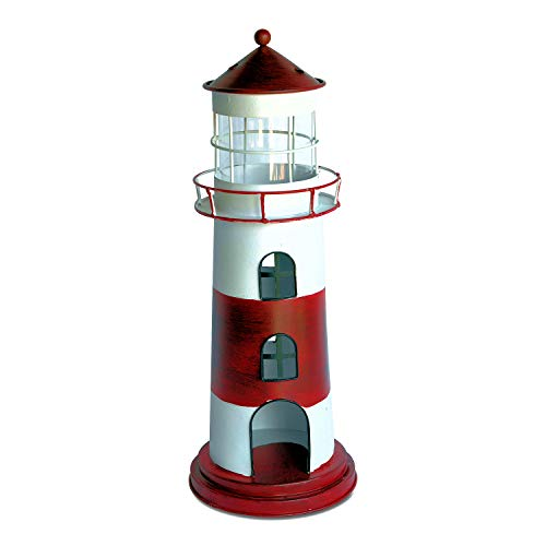 Rustic Red and White Striped Lighthouse Candle Holder, Over 1 Ft Tall (15 Inches), 3 Pieces, Removable Top, Wind Protector Glass Sleeve, Metal, Accent Sculpture, Cape Cod Style, (Candle Sculpture)