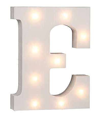 Lettere a LED funzionamento a batteria Led Buchstabe U lettere da A a Z e segno a scelta in legno bianco laccato lettere dellalfabeto