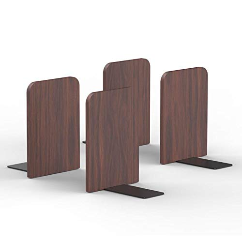 T ATHINK Walnut Wood Book Ends 4PCS, Heavy Duty Desktop Rustic Bookends Stand Shelves Support Tons of Books, Nonskid