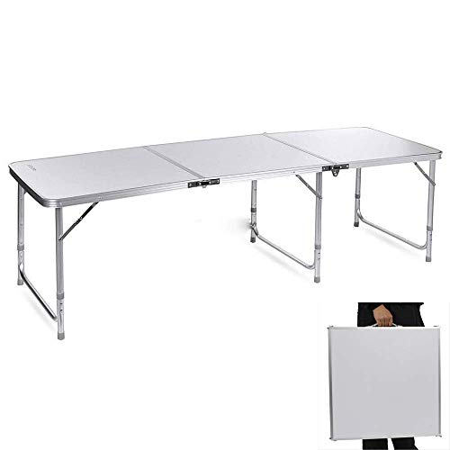 Fashine Folding Portable Aluminum Table with Carrying Handle, Waterproof Anti-Slip Foot Design, Easy Setup for Indoor, Outdoor, Picnic, Party Camping, 180 x 60 x 70cm, US ()