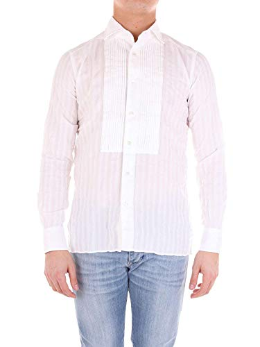 Bagutta Men's Otello07871white White Cotton Shirt
