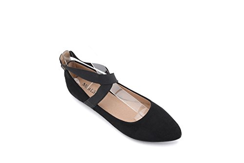 Mila Lady Yvonne Fashion Elastic Crossing Ankle Straps Slip On Point Toe Flat Shoes.Black 8.5 (Toe Flats Point Ballet)