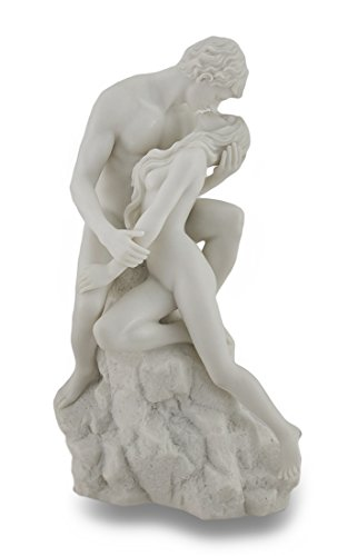 Resin Sculptures White Marble Finish The Lovers Statue Nude Sculpture 6 X 10 X 4.5 Inches White