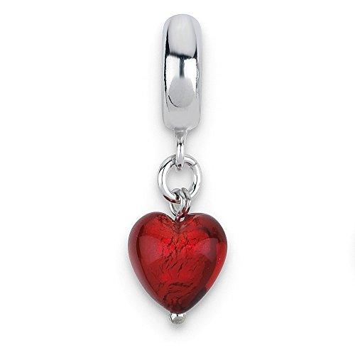 Jewelry Beads Glass Beads Sterling Silver Reflections Red Heart Italian Murano Dangle Bead ()