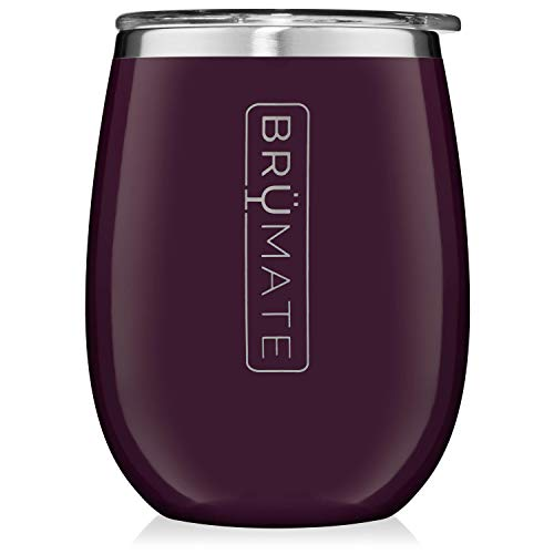 - BrüMate Uncork'd XL 14oz Wine Glass Tumbler With Splash-proof Lid - Made With Vacuum Insulated Stainless Steel (Plum)
