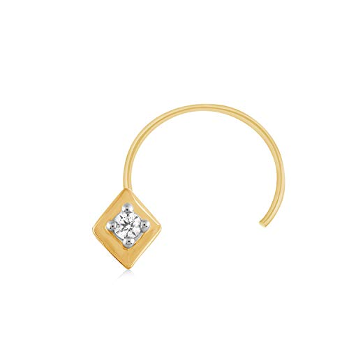 CARATS FOR YOU 0.02ct Round Shape Genuine Real Natural Diamond Solitaire 10k Yellow Gold Nose Ring Stud Pin for women from CARATS FOR YOU