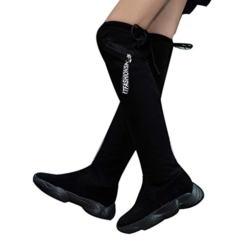 UONQD Women Knee High Flat Thick Bottom Stretch Skinny Boots Thigh High Boots Shoes(US:6,Black)