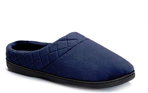 Dearfoams Microfiber Velour Clog with Quilted Cuff and Memory Foam (Medium, Peacoat)