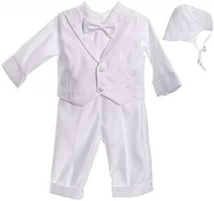 Infant Baby Boys Christening Baptism Outfit Cross Collar Vestie Pants Set
