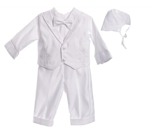 Caldore Baby Boys Cross Collar Pants Set Size Small White
