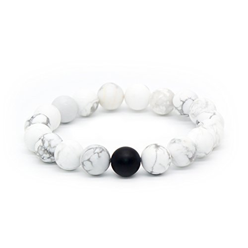 Bivei Natural Matte Finish Black Agate Onyx White Howlite Healing Power Energy Crystal Gemstone Beaded Distance Bracelet for Men and Women(White Howlite/1 Matte Black Agate) ()