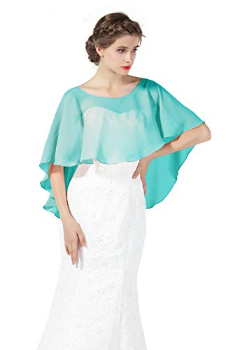 Bridal Capelet Chiffon Cape Shawls High-Low Short Tops For Women Wedding Dresses Aqua Blue ()