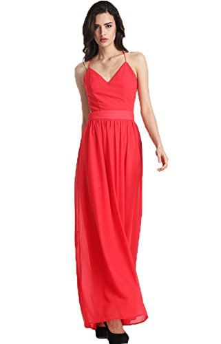 SheIn Women's Spaghetti Strap Backless Maxi Red Dress (M, Red)