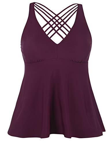 Firpearl Women's Tankini Swimsuits Cross Back Flowy Swim Tops Modest Swimwear US14 Burgundy
