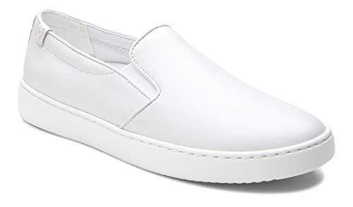 (Vionic Women's Pro Mahoney Avery Slip-on - Ladies Water Resistant Slip Resistant Service Shoes with Concealed Orthotic Arch Support White Leather 6.5 M)