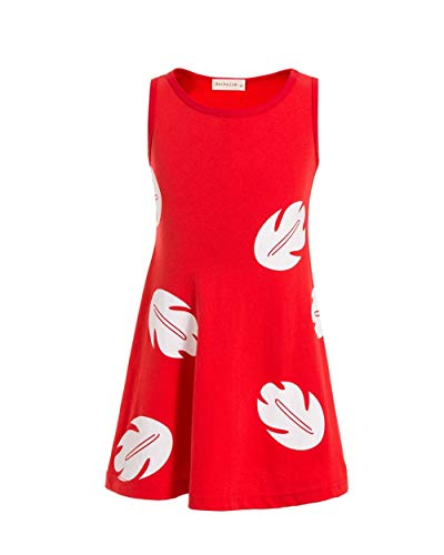 Lilo Hawaiian Dress Inspired Sleeveless Dress Lilo Princess Dresses for Girls Toddler (Red, -