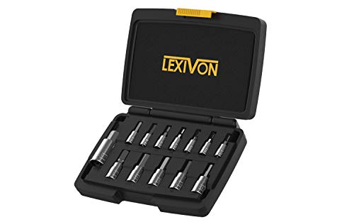 LEXIVON HEX Bit Socket Set, Premium S2 Alloy Steel | 13-Piece Metric 2mm - 14mm Set | Enhanced Storage Case (LX-141)