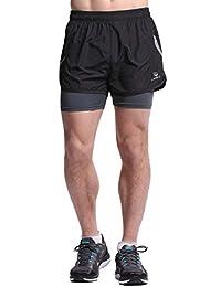 91dbb3d422 Men's Lightweight Pace Running Shorts Outdoor Dry Fit 2 in 1 Shorts Zip  Pocket