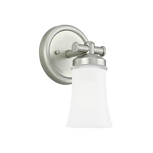 [Sea Gull Lighting 44482BLE-965 Energy Star Single-Light Newport Bath Sconce, Clear Highlighted Satin Etched Glass Shade and Antique Brushed Nickel] (Single Bath Sconce)