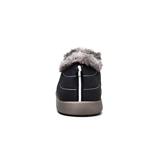 Eagsouni Women Men Anti-Slip Ankle Snow Boots Fully Fur Lined Winter Outdoor Booties Sneakers Black-low Top P6ENe