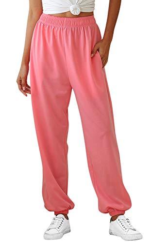 FEOYA Lange sportbroek voor dames, sweatbroek met boorden, vrijetijdsbroek, high waist, dikke harembroek, fitness…