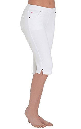 Jeans Length Stretch - PajamaJeans Women's Lightweight Knee-Length Stretch Denim Shorts (Small (4-6), White)