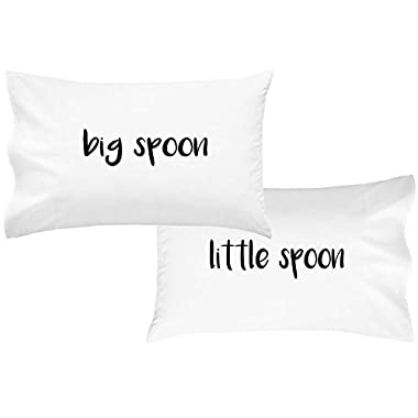 Oh, Susannah Big Spoon Little Spoon V2 Couples Pillowcases For Couples Wedding Gift Anniversary Gift For Her or Him His and Hers Gifts (2 Standard/Queen Pillowcases)