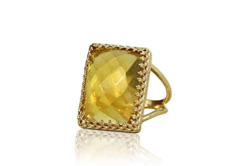 Alluring Citrine Ring by Anemone Jewelry - Queenly Gold Ring in Rectangular Shape - Jewelry Item with Delicate and Charming Designs