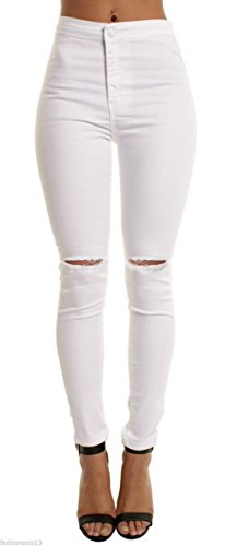 Waist Ripped Holes Destroyed Stretch Skinny Jeans with Distressing ()