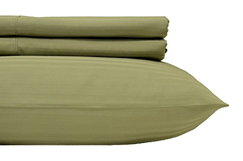 Royal's Striped Sage 500-Thread-Count 4pc King Bed Sheet Set 100-Percent Cotton, Sateen, Deep Pocket