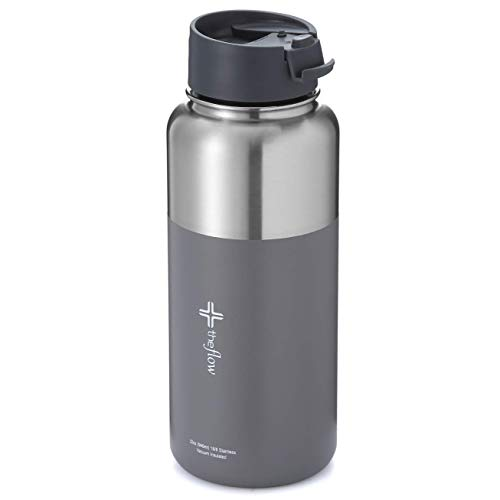 the flow insulated water bottle (Stainless grey, 32oz flip lid)