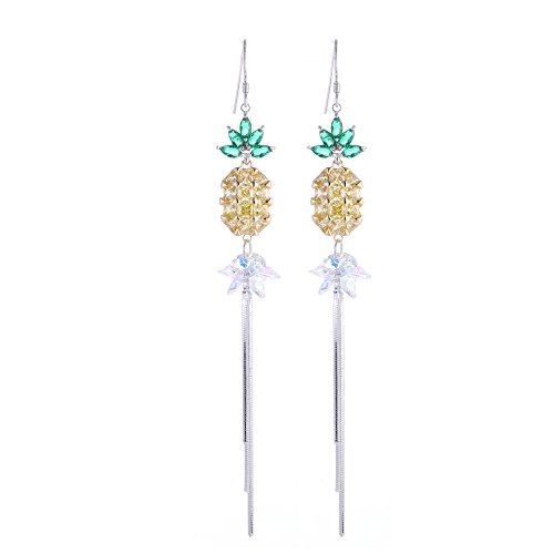 - Lovely fruit earrings yellow pineapple Austrian crystal earrings long linear pendant earrings 925 silver earrings for women party birthday presents for girls