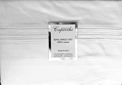 (Capecchi Made in Italy Capri Sheet Set Solid Snow White with Three White Thread Embroidered Hem Stripes 300 TC, 100% Cotton Luxury 4pc (King))