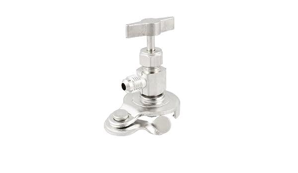 Amazon.com: eDealMax Plata Latón Metal tono puede golpear ligeramente la válvula abridor de botellas para gas refrigerante: Kitchen & Dining