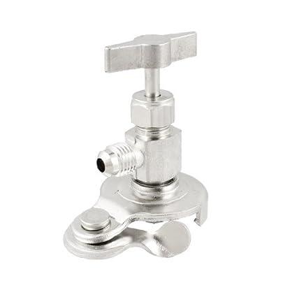 eDealMax Plata Latón Metal tono puede golpear ligeramente la válvula abridor de botellas para gas refrigerante