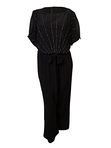 Xscape Women's Beaded Dolman Belted Jersey Jumpsuit (22W, Black) by Xscape