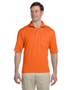 - Jerzees mens 5.6 oz. 50/50 Jersey Pocket Polo with SpotShield(436P)-SAFETY ORANGE-L