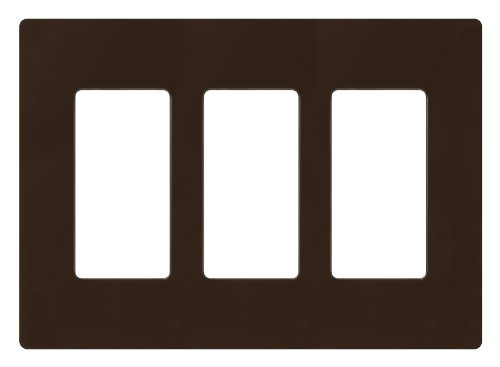 Lutron CW-3-BR Claro 3-Gang Wallplate, Brown (Wall Plate Brown)
