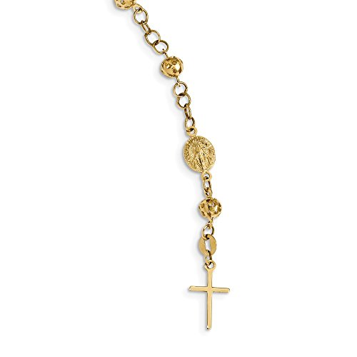 Solid 14k Yellow Gold Anklet Rosary Bracelet 9