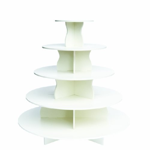The Smart Baker 5 Tier Round Cupcake Stand PRO- Holds 90+ Cupcakes As Seen on Shark Tank Professional Cupcake Tower by The Smart Baker (Image #1)