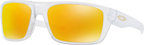 Oakley Men's Drop Point Non-Polarized Iridium Rectangular Sunglasses, Matte Clear, 60 mm