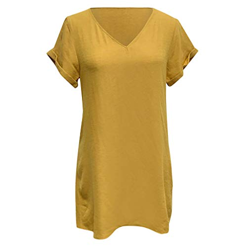 Weiliru Women's Summer Short V-Neck Swing Shift Dress Plain T Shirt Dress Yellow ()