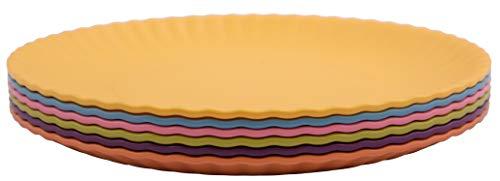 Melange 6-Piece 100% Melamine Salad Plate Set (Paper Plate Collection) | Shatter-Proof and Chip-Resistant Melamine Salad Plates | Color: Multicolor