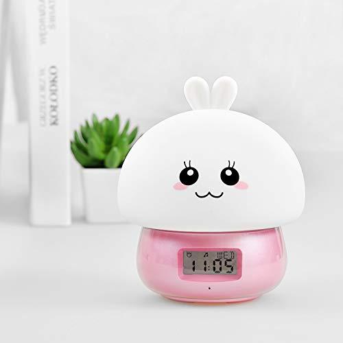 inether 자명종 녹음 기능 디지탈 시계 탁상시계 알람 시계다 색LED전환 디지탈 clock 원격 조작 캐릭터 시계 수다쟁이(수다스러움) 알람 패드 램프 나이트 라이트 베드 싸이드 램프 리모콘 부착 디지털《다》《메》《루》 온도 표시 생일 어머니날 기프트 핑크