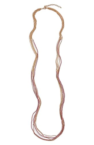 Nordstrom Long Strand (Nordstrom BP Seed Bead Multi-Layer Long Necklace, Dusty Rose/Gold)
