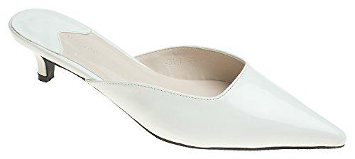 AnnaKastle Womens Pointy Toe Low Kitten Heel Mule Slide Chic Dress Sandal Shoes White ()